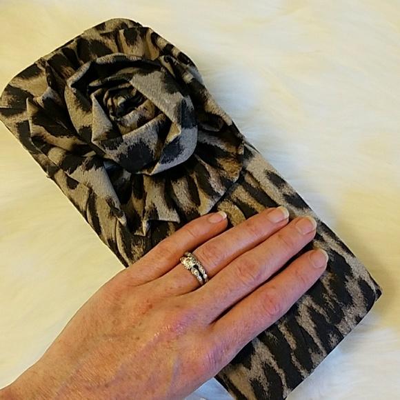 Magid Evening Handbags - Leopard Rose evening print clutch